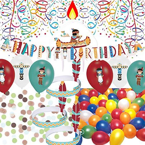 60-teiliges Deko-Set * Tipi & Tomahawk * mit Partykette + Geburtstagskerze + Indianer-Kopfschmuck + Konfetti + Luftballons + weitere Deko | Indianer Kindergeburtstag Mottoparty Indians USA Aaerikal