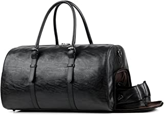 Gym Bag For Men Leather Travel Weekender Overnight Duffel Bag Bag With Shoe Compartment Gym Sports Luggage Tote For Men & Women (large black)