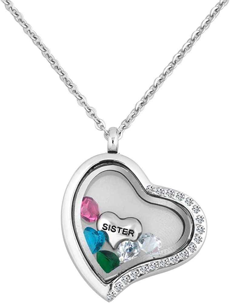 Q&Locket Heart Shaped Sister Floating Charms Glass Living Memory Locket Pendant Necklace