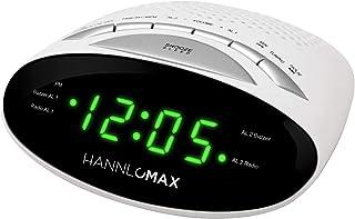 HANNLOMAX HX-116CR Alarm Clock Radio, PLL AM/FM Radio, Dual Alarms, Green LED 0.6 Inches Display (White)