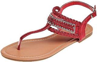 Damessandalen met riempjes, Romeinse sandalen, Boheemse strass, comfortabele platte strandsandalen, slingback peep toe zom...