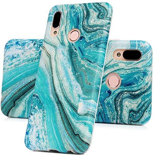 Vogu'SaNa Kompatible für Handyhülle Samsung Galaxy A40 Hülle Silikon Matt Marmor Muster Case Cover Marble Tasche Dünn Schutzhülle Handytasche Skin Softcase Schale Bumper TPU Handycover-Grün