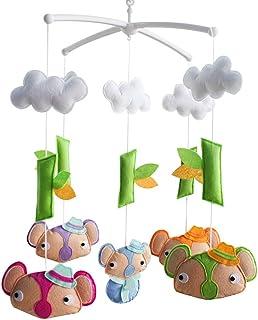 Décor de lit bébé Décoration de lit de bébé Cadeau nouveau-né Mobile musical en tissu non tissé F