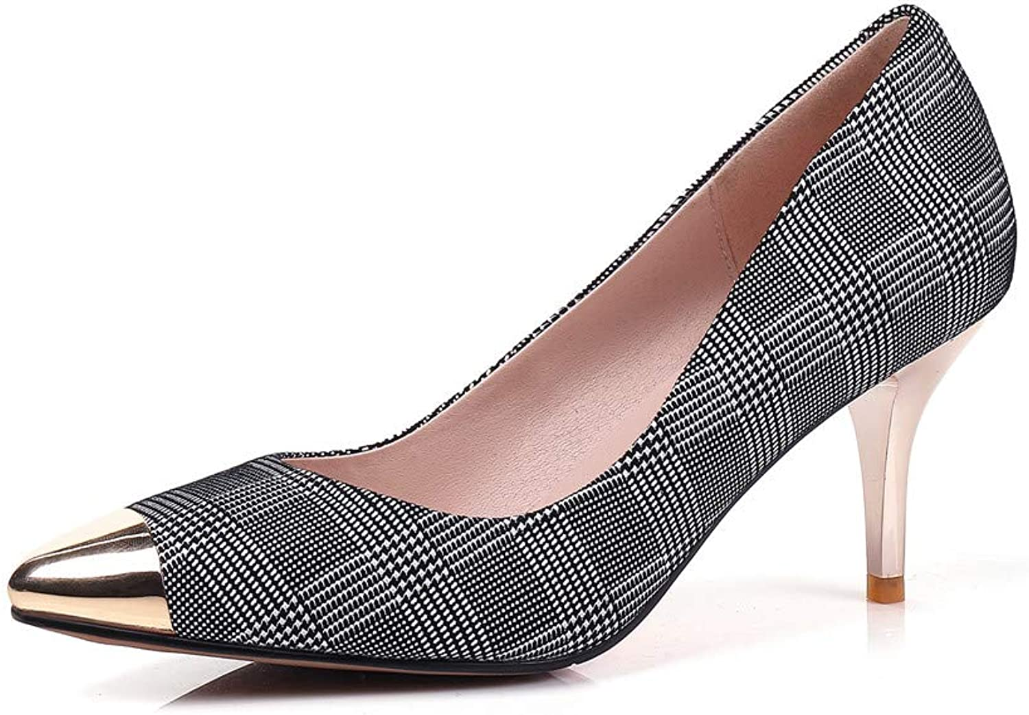 Nine Seven Women's Suede Leather Pointed Toe Sexy Stiletto Heel Handmade Glossy and Comfortable May Jane Pumps shoes