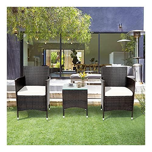 Loungegrupp ?för trädgården, trädgårdsmöbler, utomhus konstrotting soffa, balkongmöbel set 2 personer, 1 bord och 2 fåtöljer soffbord med förvaringsutrymme för trädgård, balkong och terrass