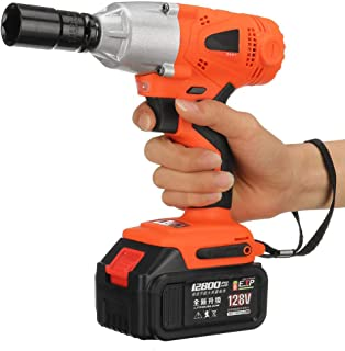 LKSDD Impact Wrench,Brushless Cordless Electric Wrench/Impact Wrench, 128V 520Nm Lithium Battery Hand Drill Installation Power Tools,1battery