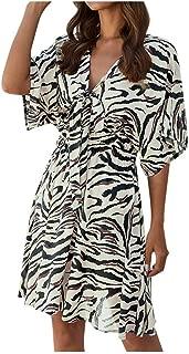 BALABA◕。Women's Sexy V Neck Short Sleeve Leopard Dress | Floral Print Short Dress Beach Holiday Flowly Swing Mini Dress