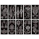 Kit de plantillas de tatuajes temporales de henna de 10 hojas para mujeres, tatuajes de arte corporal, plantillas, adhesivos, diseños de patrones de encaje de flores, plantillas de henna