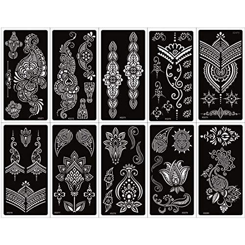 10 Blatt Henna Tattoo Schablonen Kit für Frauen, Body Art Tattoos Schablonen Aufkleber Flower Lace Pattern Designs Henna Vorlagen für Hand Fuß