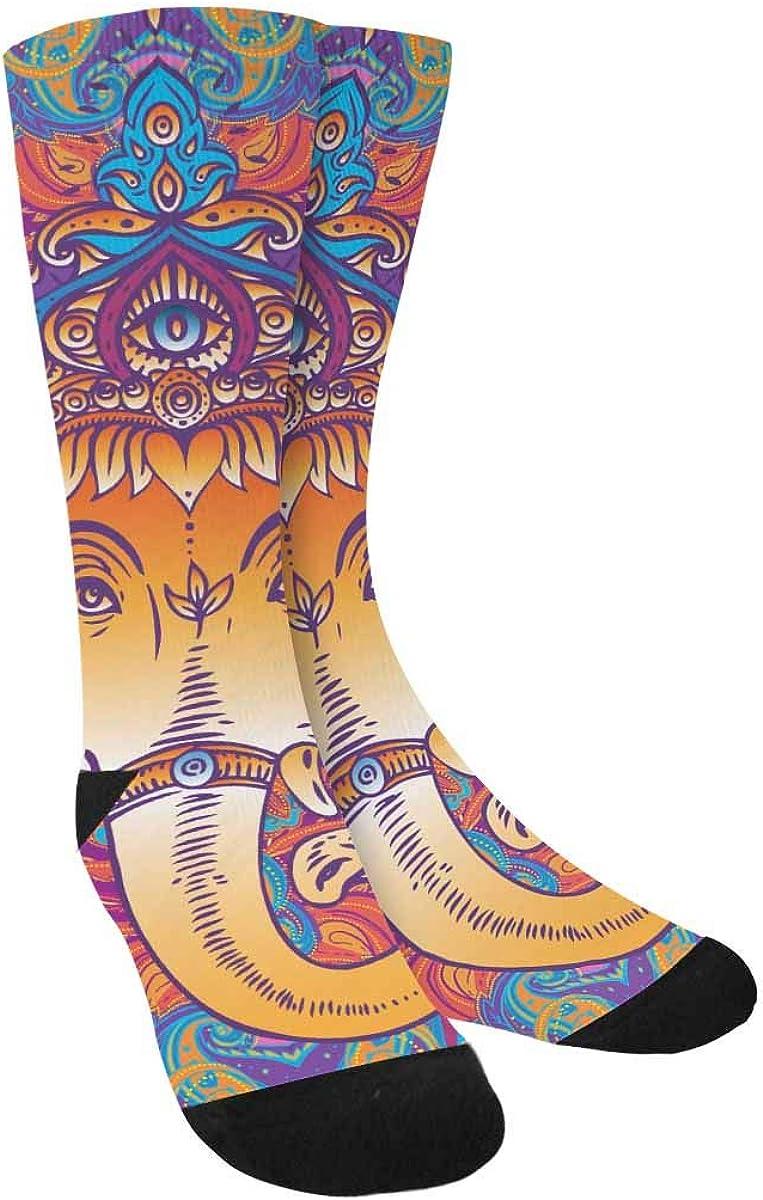 INTERESTPRINT Colorful Mandala Pattern Sublimated Polyester Casual Crew Socks