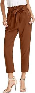 GRACE KARIN Women's Pants Trouser Slim Casual Cropped Paper Bag Waist Pants Pockets