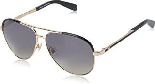 Kate Spade Women's Amarissa Aviator Sunglasses, Gold Black/Dark Gray Shaded, 59 mm