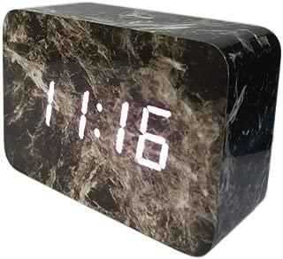 LuxSweet Wood Alarm Clock Wooden Digital Clock LED Light Smart Alarm Clock USB Interface Sound Control Alarm Clock Office Decoration Digital Alarm Clock Student Alarm Clock - Marble (White Light)