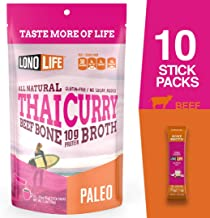 LonoLife Thai Curry Beef Bone Broth Powder with 10g Protein, Stick Packs, 10 Count