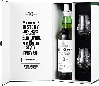 Laphroaig 10 Jahre | Islay Single Malt Scotch Whisky | Geschenk-Set mit 1 Flasche 0,7l. und 2 Original Laphroaig Dram Gläser