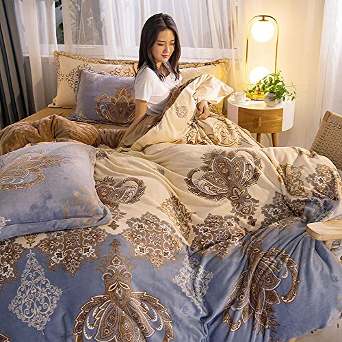 Bedding 4 piece bed sheet set,Leopard-print milk fleece four-piece thick double-sided coral fleece duvet cover short flannel bedding Falaise flannel sheets-European style_2.0m (6.6 feet) bed
