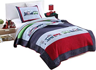 Details about  /Steam Engine Quilted Coverlet /& Pillow Shams Set Countryside Train Print