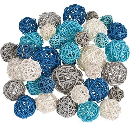 36 Bolas de Ratán de Mimbre Orbes Decorativos Rellenos de Jarrón para Manualidades, Fiesta, Boda, Accesorios de Aromaterapia, Decoración de Jardín (Azul Oscuro, Azul Cielo, Gris, Blanco), 4 Tamaños