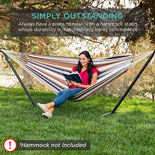 Best Choice Products 9ft Portable Heavy-Duty Steel Hammock Stand w/ Carrying Case, Weather-Resistant Finish, 450lb. Capacity
