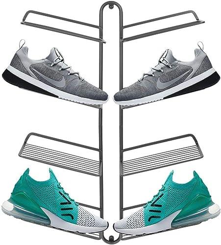 mDesign rangement chaussures – étagère chaussure murale moderne pour quatre paires de baskets, chaussures de sport, e...