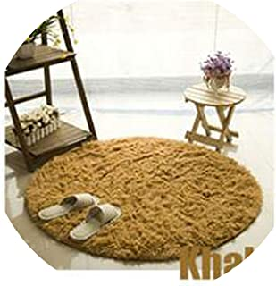 Gray Carpets for Living Room Kilim Carpet Long Plush Rugs for Bedroom Shaggy Area Rug,Khaki,Diameter 40cm