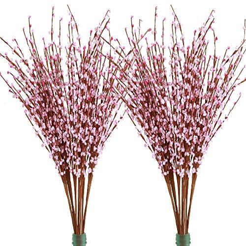 Famibay - Flores artificiales de jazmín de invierno de polietileno, para decoración del hogar, boda, fiesta, tienda, 20 unidades, PE, Rosa-01, Paquete de 20