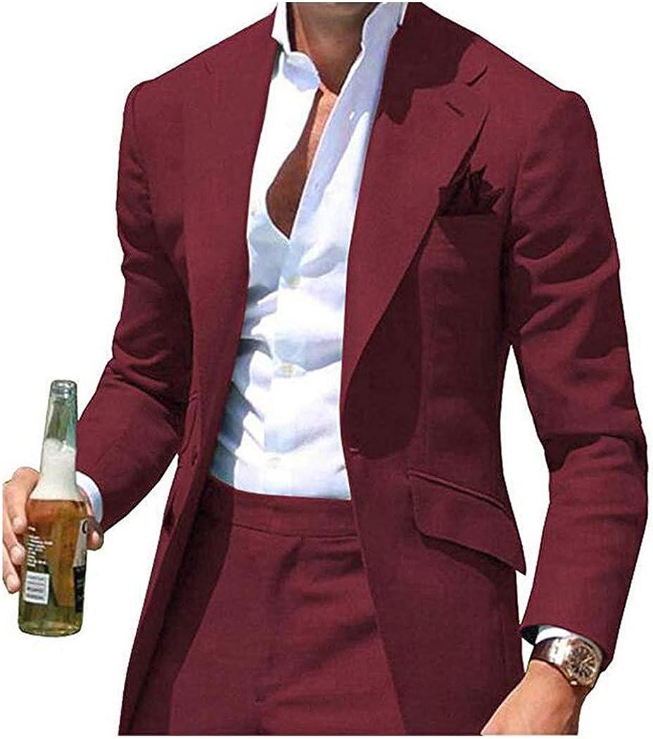 TOPG Men's Notch Lapel 2 Pieces Casual Men Suit Wedding Suits Slim Fit Groom Tuxedos Business Suit