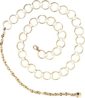 Rebecca Fashion Women Metal Chain Dress Belt Decorated Skinny Waist Belt Golden Silver Waistband Dress Accessory
