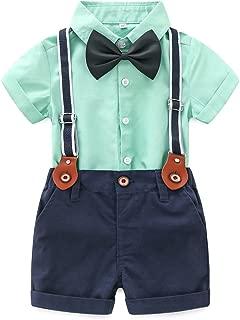 Baby Boy Summer Cotton Gentleman Long Sleeve Bowtie Romper Suspenders Shorts Outfit Set