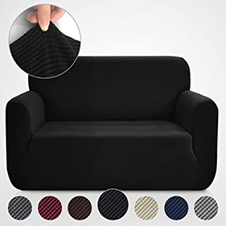 Rose Home Fashion RHF Jacquard-Stretch Loveseat Slipcover Slipcovers for Couches and Loveseats, Loveseat Cover&Couch Cover for Dogs, 1-Piece Sofa Protector(Loveseat: Black)
