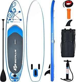 """Goplus Inflatable Stand Up Paddle Board, 6.5"""" Thick SUP with Carry Bag, Adjustable Paddle, Bottom Fin, Hand Pump, Non-Slip..."""