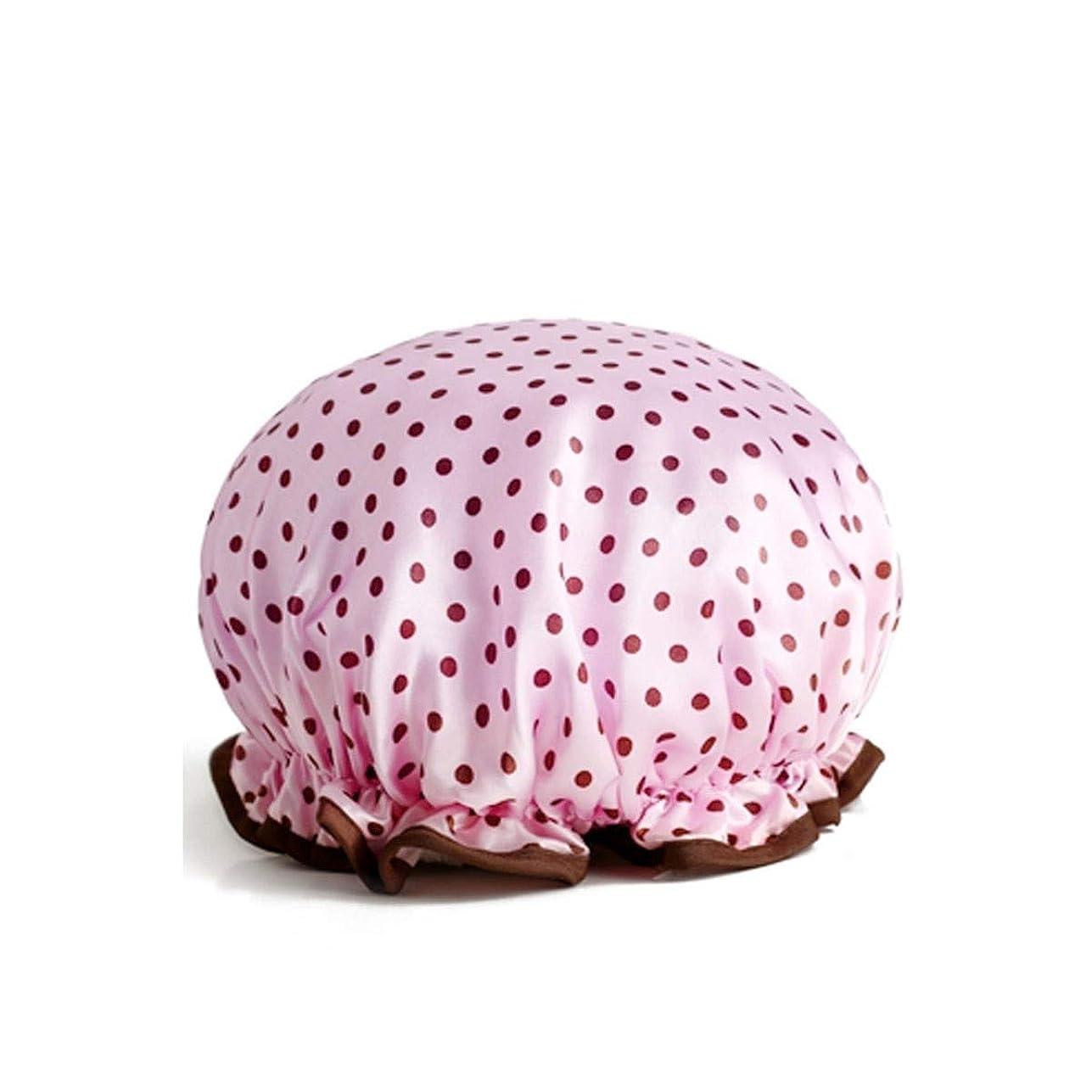 花瓶推進類人猿PFKE シャワーキャップ、防水大人の女性のシャワーキャップ、シャワーシャワーキャップ、シャンプーキャップ、かわいいスカーフは、台所の女性は、4色のキャップを吸うオプション シンプルで実用的な製品 (Color : Pink)