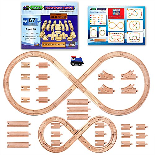 Tiny Conductors 67 Piece Wooden Train Track Set with Train Car, 100% Real Wood, Compatible with...