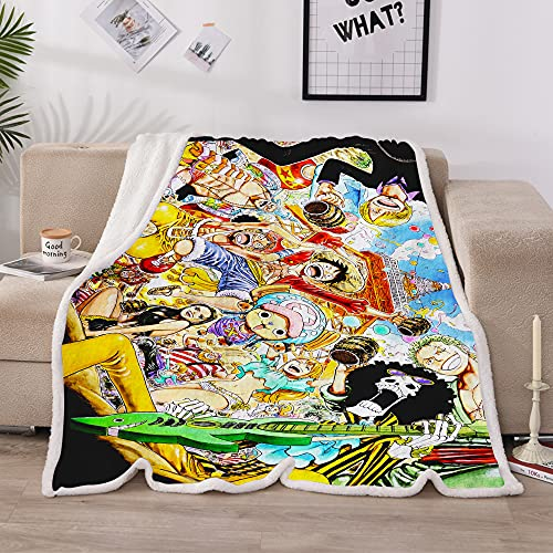 One_Piece Throw Blanket Anime Luffy Sanji Crystal Velve Blankets for Couch Bed Boy's Birthday Gift 51x60 in