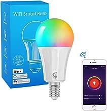 MoKo Lampadina LED Colorate RGB,Controllo Remoto WiFi, 9W Luce Calda Dimmerabile, Lavora con Alexa Echo, Google Home e IFTTT per Controllo App Smart Life No Hub - Bianco