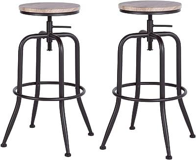 MEUBLES COSY Lot de 2 Tabouret de bar haut - Tabouret de bar ajustable, papier PVC,pieds métal finition noire mat, chêne
