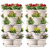 VIVOSUN 2-Pack 5 Tier Vertical Gardening Stackable Planter for Strawberries, Flowers, Herbs, Vegetables Ivory