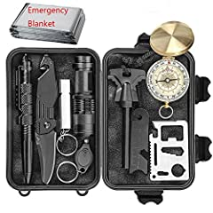 EILIKS 11 in 1 Multi-Purpose Updated Emergency Tactics Kit Containing: flint stone, scraper, flashlight, swiss card, mini light, updated compass, updated tactical military knife, whistle, tungsten steel pen, emergency thermal steel and black sturdy b...