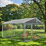 MAGIC UNION Outdoor Dog Kennel with Roof Dog Enclosures for Outside Dog Runner for Yard Outdoor Pet Enclosure Kennel Fence Dog Cage in Backyard with Water-Resistant Cover