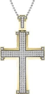 1.00 Carat (ctw) 10K Gold Round Diamond Men's Cross Pendant 1 CT (Silver Chain Included)