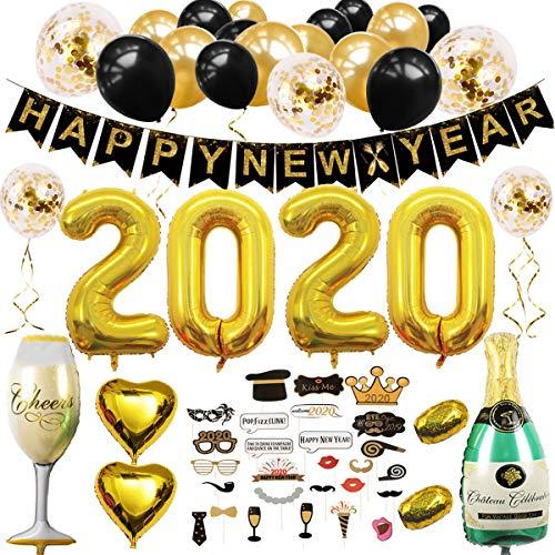 sancuanyi Decoracion Nochevieja 2020, 2020 Decoraciones para Fiestas-Happy New Year Bandera,Globos 2020, Set de Foto Props, 21 Globos de Confeti Negro y Dorado
