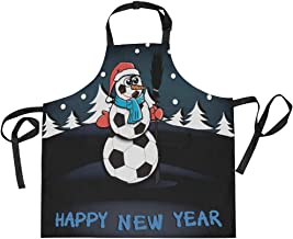 AHOMY Adjustable Apron with Pocket Christmas Snowman Of Soccer Balls Forest Extra Long Ties, 27.5 x 29