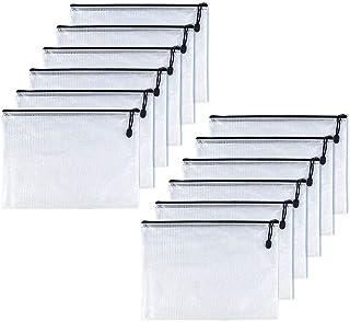 OAIMYY A3-Waterproof Tear-Resistant Plastic Zipper Pen File Document Folders Pockets Travel Bags,12-Pcs,Black