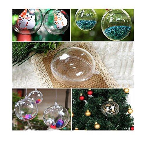 Lalang 5pcs Boule de Noël Boule de Décoration Transparent Fillable Boule Ornament Noël en Plastique Décorations de Noël, Ovale en Forme (80mm)