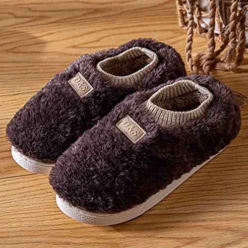 Nwarmsouth Zapatillas de Estar por Casa Lindo,Zapatos de algodón para el hogar con tacón de Bolso, Pantuflas cálidas de Felpa-Negro y Gris_41-42,Zapatillas Slip On Mules para Hombre