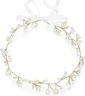 Crystal Wedding Headband Bridal Headpiece Pearl and Rhinestone Crown Bride Hair Accessories Hair Garland with Ribbon for Women (Beads)