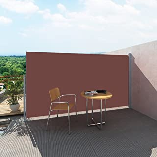 Festnight Patio Retractable Privacy Wall Folding Side Awning Screen Divider Fence Garden Outdoor Sun Shade and Wind Scree for Lawn Terrace Backyard Brown 9.8 x 6 Feet (L x H)