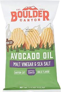 Boulder Canyon Natural Foods Kettle Chips - Malt Vinegar and Sea Salt - Case of 12 - 5.25 oz.