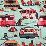 Stoff Meterware Baumwolle camping hellblau rot Wohnwagen