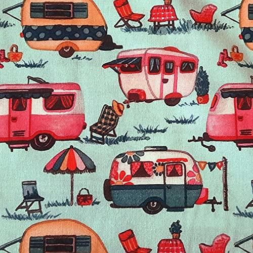 Stoff Meterware Baumwolle camping hellblau rot Wohnwagen campen Kleiderstoff Dekostoff